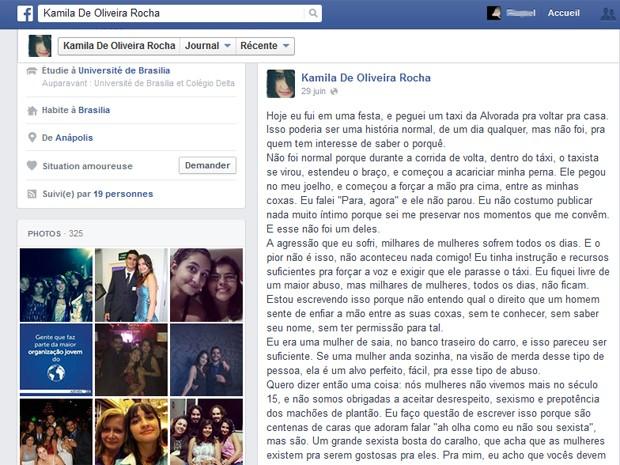 Postagem de Kamila Rocha em rede social, relatando abuso que teria sofrido de taxista em Brasília (Foto: Facebook/Reprodução)