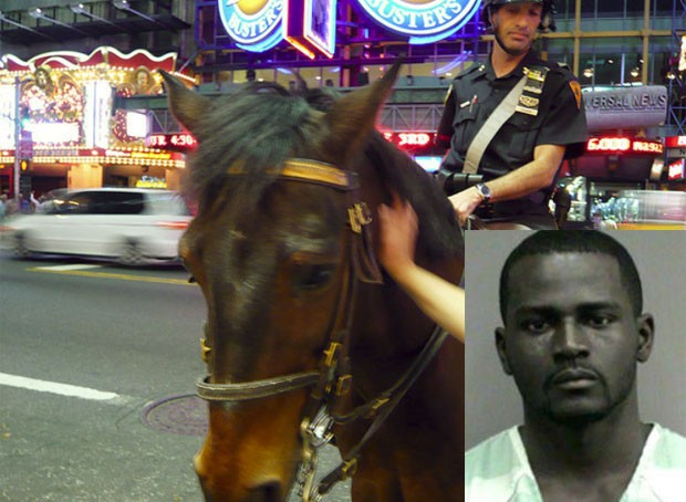 Olawale Ayodeji Agbede bateu no cavalo 'Rusty' e foi preso. (Foto: Reprodução)