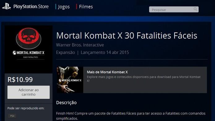 Fatalities fáceis de Mortal Kombat X custam de R$ 2,49 a R$ 10,99 (Foto: Reprodução/Rafael Monteiro)