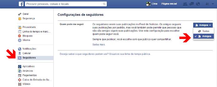 Configuração de privacidade dos seguidores no Facebook (Foto: Reprodução/Lívia Dâmaso)