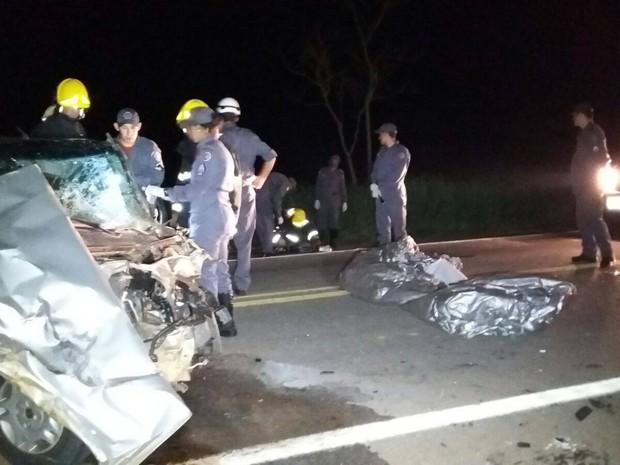Veículo teve a frente destruída após a batida. Motorista morreu no local. (Foto: Divulgação/Corpo de Bombeiros)