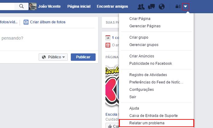 Facebook permite relatar dificuldades encontradas na rede social (Foto: Reprodução/Facebook)
