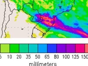 Mapa mostra previsão de altos volumes de chuva ao longo do final de semana em SC (Foto: Divulgação)