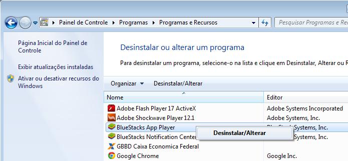 Desinstalando o Bluestack no Windows (Foto: Reprodução/Edivaldo Brito)