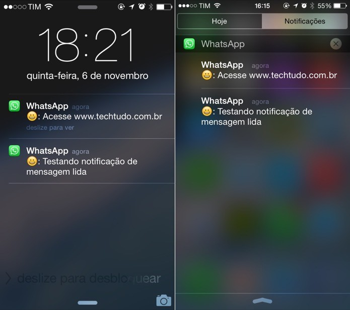 Mensagens podem ser visualizadas através das notificações (Foto: Reprodução/Helito Bijora)