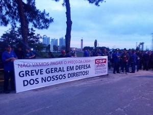 Sindicalistas protestam em São José contra ações do governo federal (Foto: Divulgação/ Sindicato dos Metalúrgicos)