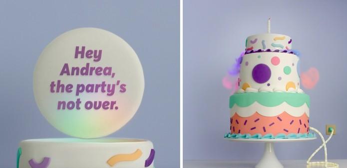 O Facebook preparou um bolo para o seu aniversário (Foto: Reprodução/Camila Peres)