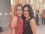 Ex-BBB Cacau tieta Fátima Bernardes nos bastidores do 'Encontro'