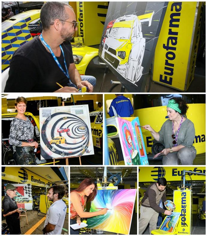 Artistas pintando quadros durante temporada da Stock Car (Foto: Vanderley Soares)