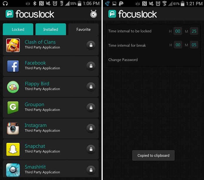 Focus Lock bloqueia aplicativos para que eles não sejam acessados (Foto: Divulgação)