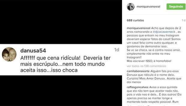 Monique Evans postou comentário de seguidora, que criticou beijo dela em Cacá Werneck (Foto: Reprodução/Instagram)