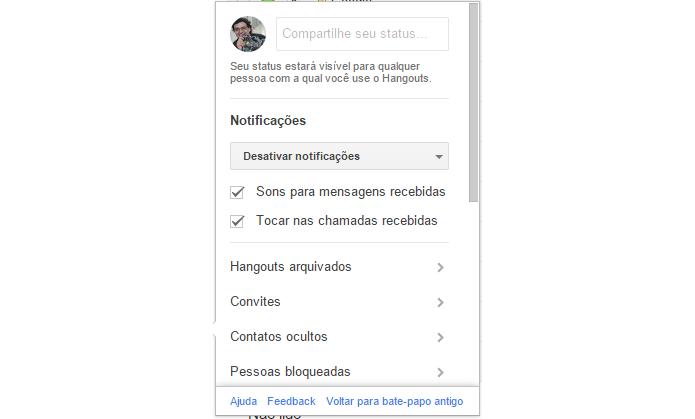 Hangouts vai permitir que usuários customizem mensagens de status (foto: Reprodução/Gmail)
