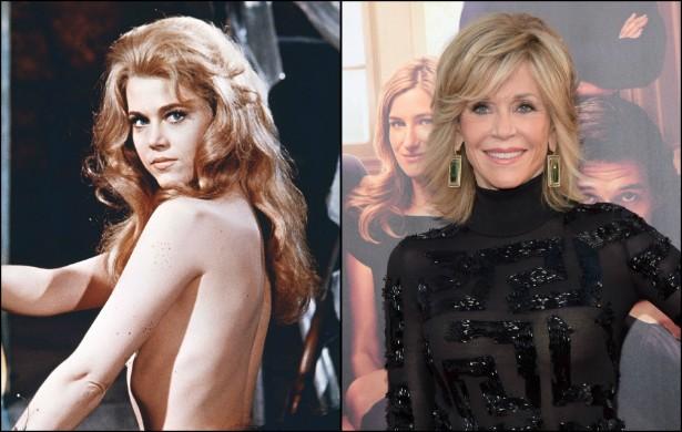 Jane Fonda como a sexy 'Barbarella' (1968), quando tinha 30 anos, e hoje, aos 76. (Foto: Divulgação e Getty Images)