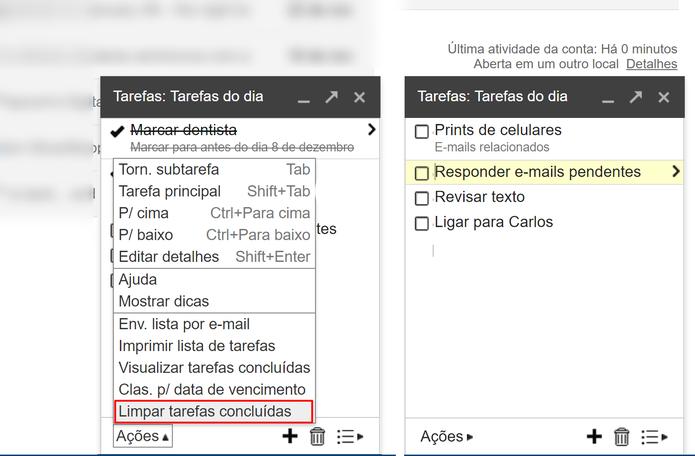 Usuário pode limpar lista de tarefas concluídas para ter mais espaço (Foto: Reprodução/Elson de Souza)