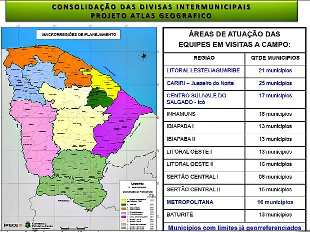 Mapa mostra regiões do Ceará. Os citados em azul já foram definidos ou estão em processo de definição. (Foto: Assembleia Legislativa do Ceará/ Divulgação)