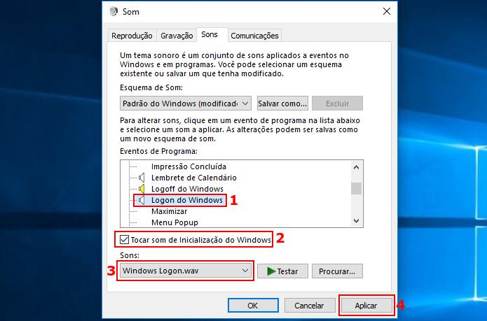 Mudando as configurações de sons do Windows 10 (Foto: Reprodução/Edivaldo Brito)