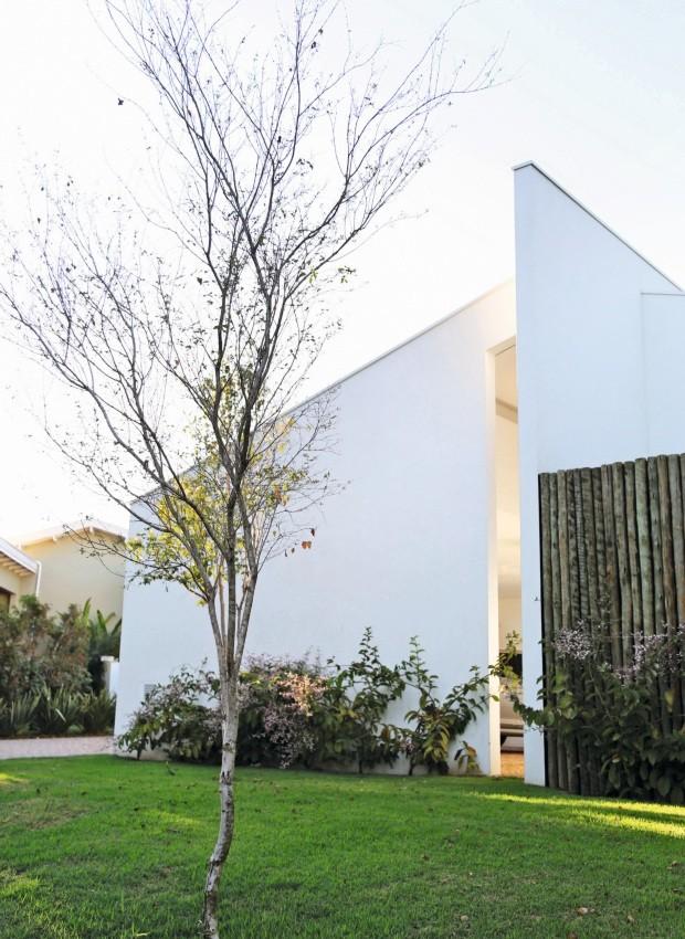 Fachada. Em frente ao paredão branco, congeia. Em primeiro plano, pitangueira (Foto: Julia Campos / Divulgação)