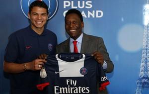 Thiago Silva e Pelé PSG (Foto: Reprodução / Site Oficial PSG)