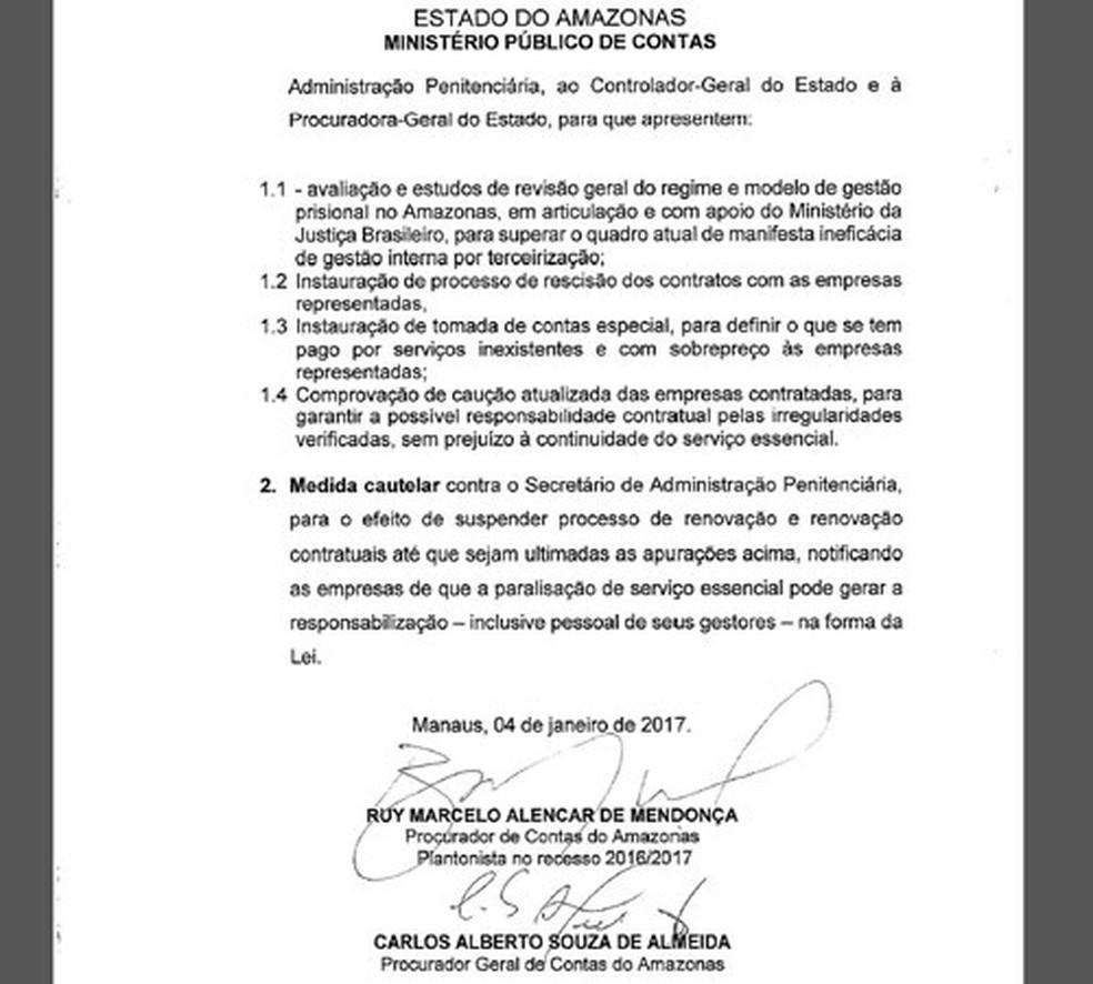MP pediu instauração de processo para rescindir contratos com empresas e no plano para presídios do Amazonas (Foto: Reprodução)