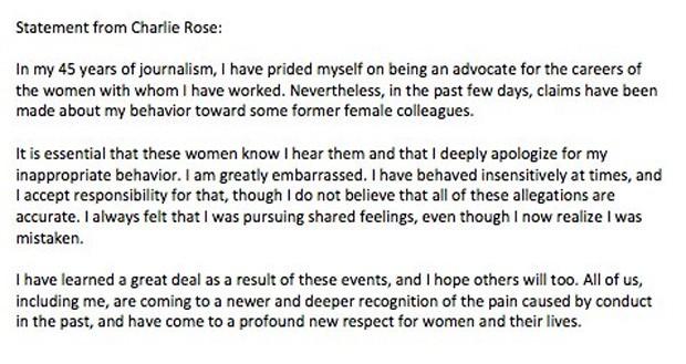 Charlie Rose divulga pedido de desculpas após acusações de assédios sexuais (Foto: Reprodução/Twitter)