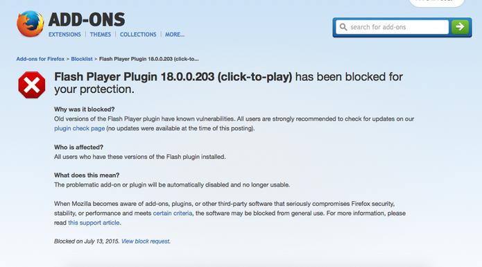 Mozilla Firefox bloqueia por padrão o Adobe Flash Player dos navegadores (Foto: Reprodução/Mozilla)