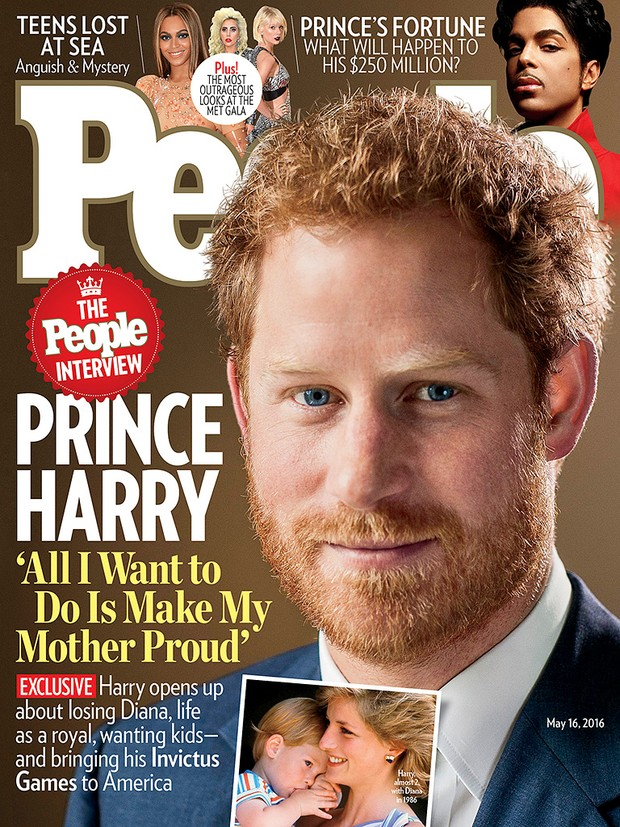 Príncipe Harry fala sobre a mãe, Diana (Foto: Revista People / Reprodução)