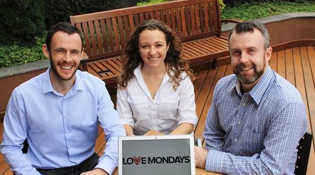 Shane O'Grady, Luciana Caletti e Dave Curran, fundadores da Love Mondays (Foto: Divulgação)