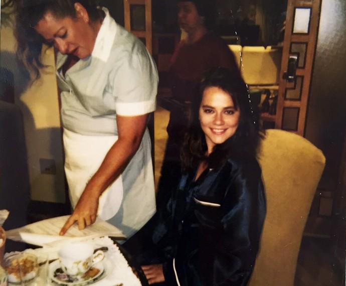 Registro de Vivianne Pasmanter em intervalo de gravação de 'A Próxima Vítima' (Foto: Arquivo Pessoal)