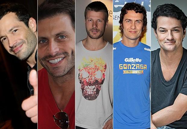 Malvino Salvador; Henri Castelli; Rodrigo Hilbert; Gabriel Braga Nunes e Marcelo Serrado  (Foto: Agnews e Divulgação)
