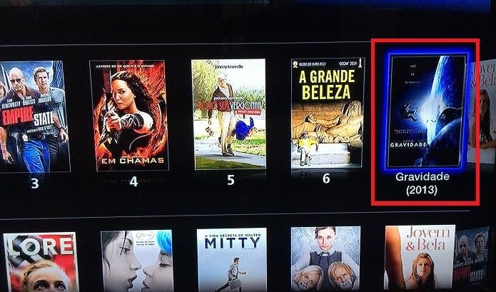 Selecionando um filme na Apple TV (Foto: Reprodução/Edivaldo Brito)