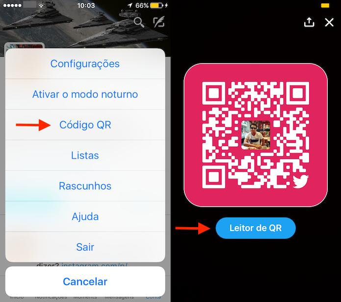Opções para código QR no aplicativo do Twitter (Foto: Reprodução/Marvin Costa)