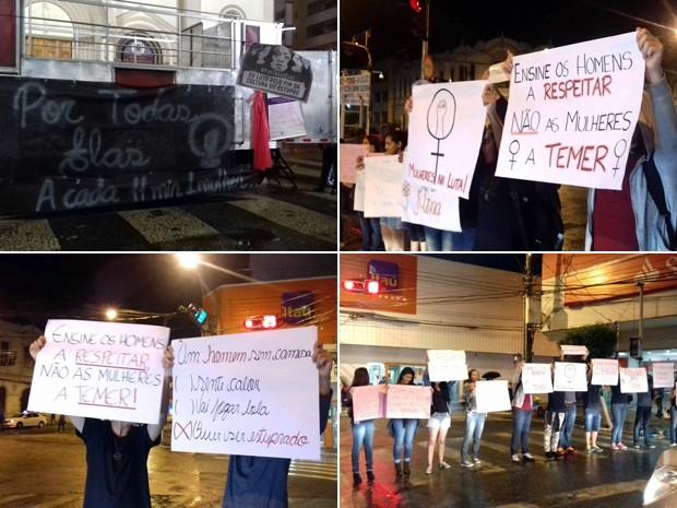 Manifesto contra o estupro em Pouso Alegre, MG, se concentrou na Praça Senador José Bento, no Centro (Foto: Daniela Ayres/ G1)