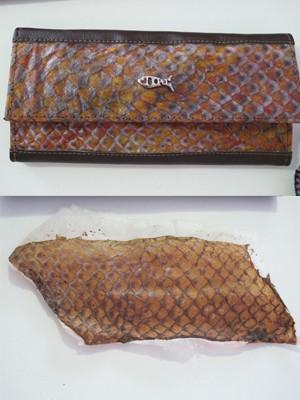 Pele do peixe após o procedimento e a carteira feita com o material (Foto: Mariane Rossi/G1)