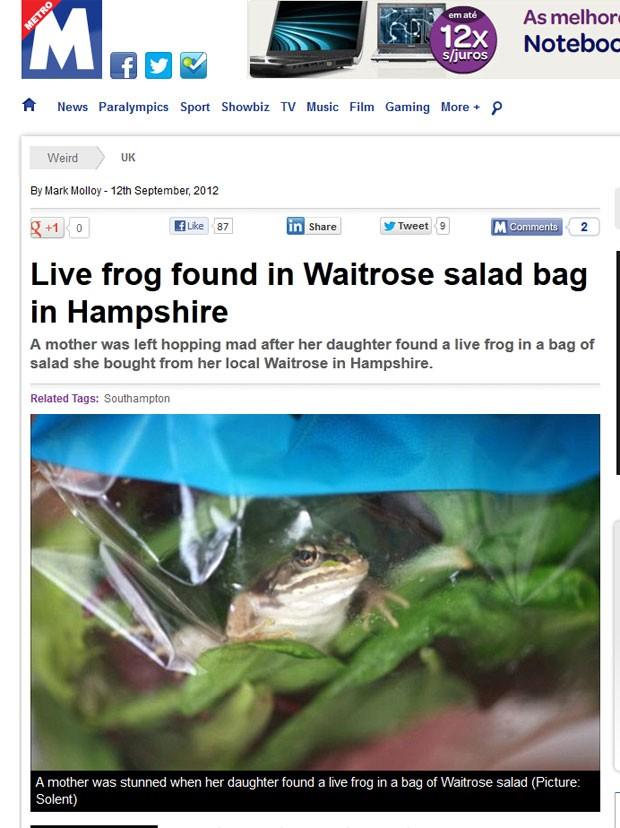 Família britânica encontrou sapo vivo em uma embalagem de salada. (Foto: Reprodução/Metro)