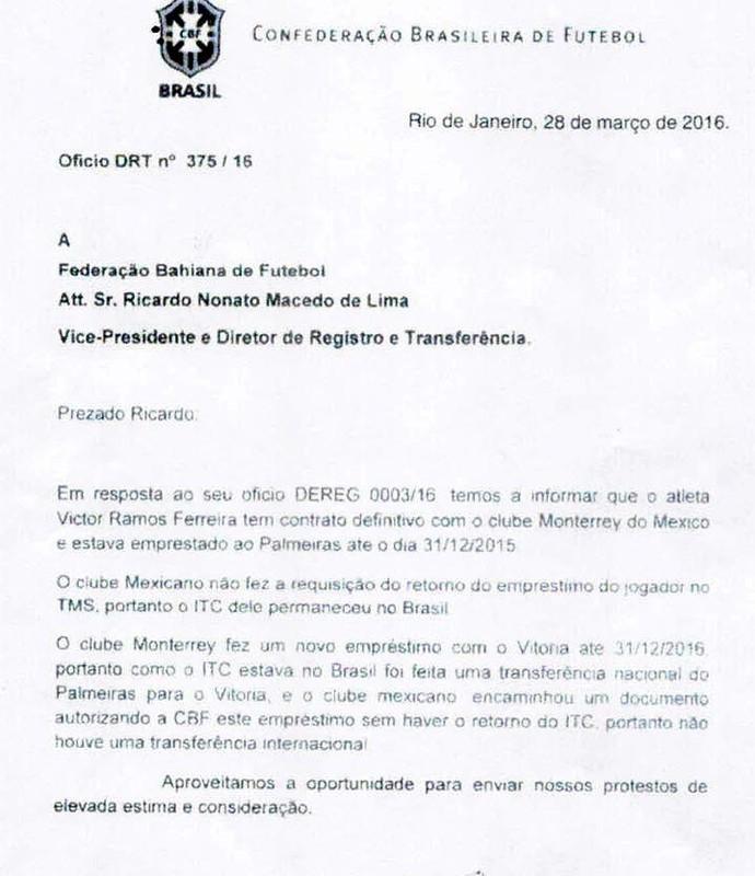 documento CBF; Victor Ramos; transferência; vitória (Foto: Reprodução)