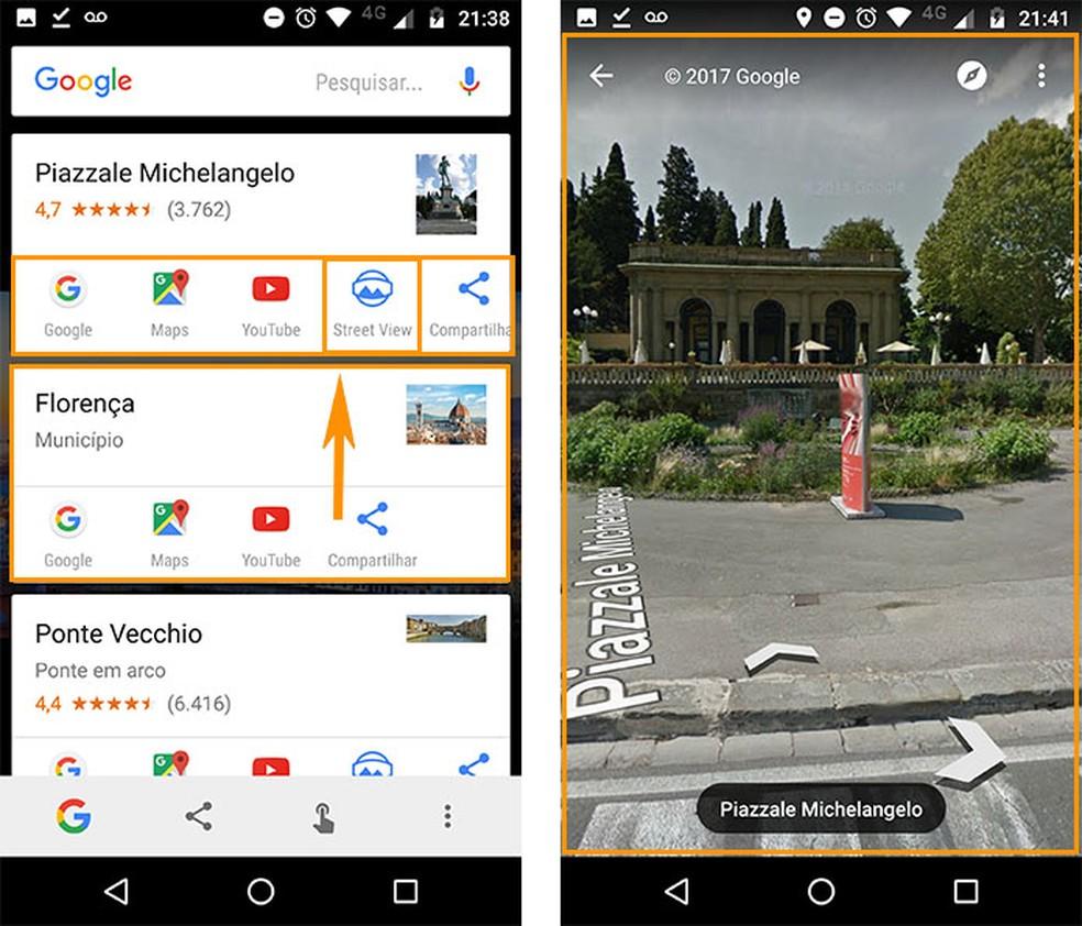 Veja todos os resultados sobre o local e até acesse o Street View (Foto: Reprodução/Barbara Mannara)