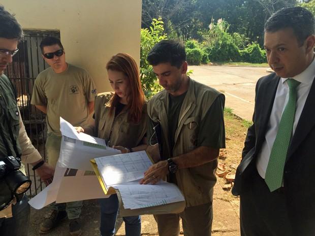 Equipe da CPI dos maus-tratos ao lado de biólogos do zoológico (Foto: CPI dos Maus-Tratos/Reprodução)