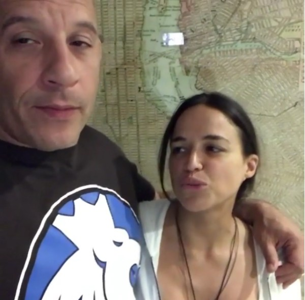 O ator Vin Diesel e a atriz Michelle Rodriguez (Foto: Instagram)