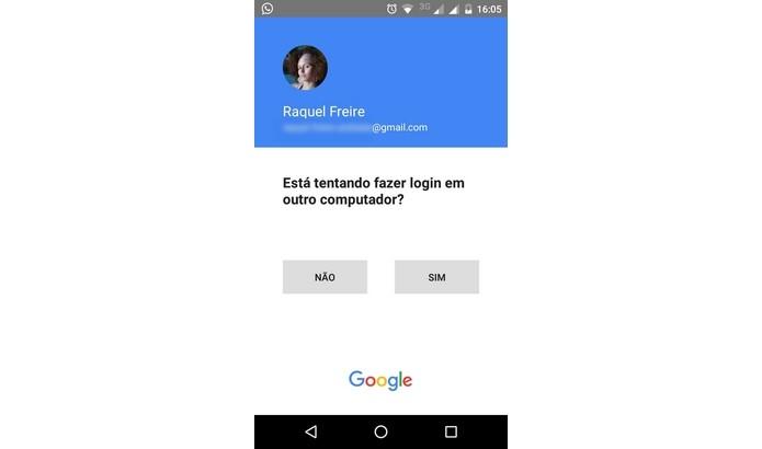 Interface de confirmação da Solicitação do Google (Foto: Reprodução/Raquel Freire)