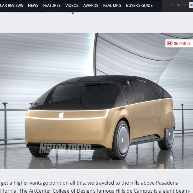 """Conceito de """"Apple Car"""" criado por designers (Foto: Reprodução/ Motor Trend)"""