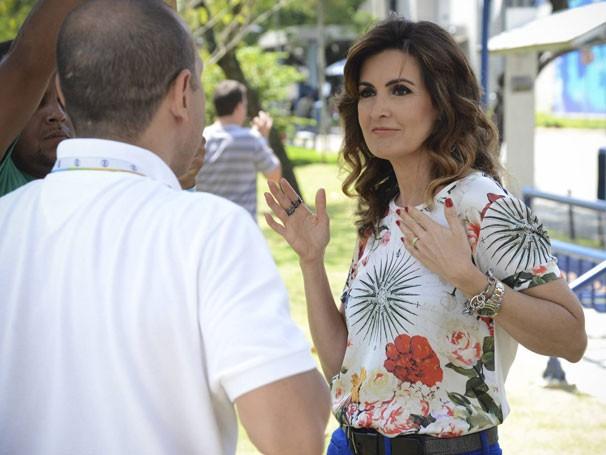 Fly e Fátima Bernardes ensaiam a coreografia (Foto: Raphael Dias/ TV Globo)