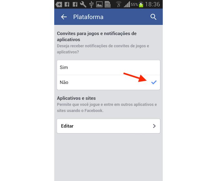 Bloqueando convite para jogos no Facebook para Android (Foto: Reprodução/Marvin Costa) (Foto: Bloqueando convite para jogos no Facebook para Android (Foto: Reprodução/Marvin Costa))