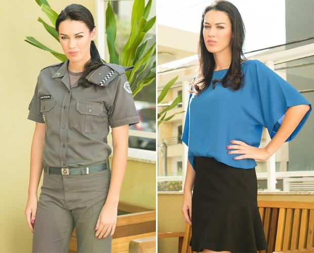 A bela Helena Moraes atua  na Polícia Militar em Franca, SP (Foto: Érico Andrade/G1)