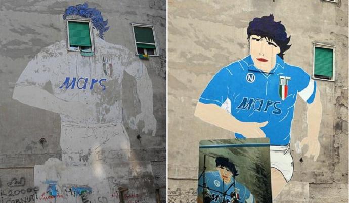 BLOG: Mural em homenagem a Maradona é restaurado em Nápoles, e ídolo vibra