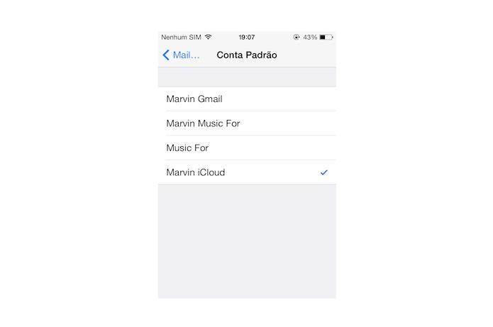 Alterando a conta padrão do iOS (Foto: Reprodução/Marvin Costa)