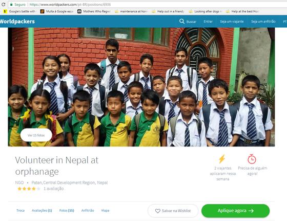 Anúncio do Worldpackers: vaga para voluntário em um orfanato no Nepal, na Ásia, é um exemplo de serviço não-remunerado permitido pela legislação brasileiro (Foto: Reprodução)