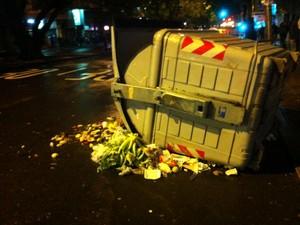 Contêiner de lixo é derrubado na Avenida Salgado Filho, em Porto Alegre (Foto: Felipe Truda/G1)