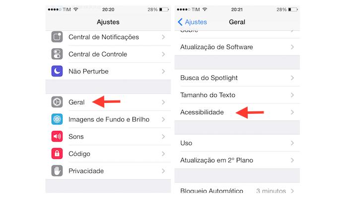 Acessando as configurações de acessibilidade do iOS 7 no iPhone 4 (Foto: Reprodução/Marvin Costa)