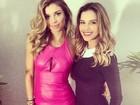 Grazi Massafera usa vestido colado em gravação ao lado de Mariana Rios