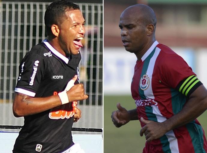 Carlos Vitor, do Rio Branco-ES, e o atacante Vitinho, do Real Noroeste (Foto: A Gazeta)